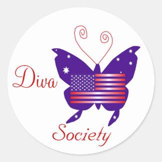 American Diva Butterfly Society Round Sticker