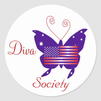 American Diva Butterfly Society Round Sticker