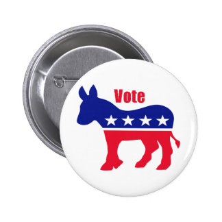 """American donkey with """"Vote"""" 2 Inch Round Button"""