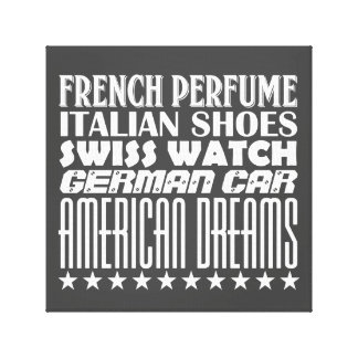 American Dreams - Mixed Typography (White) Stretched Canvas Print