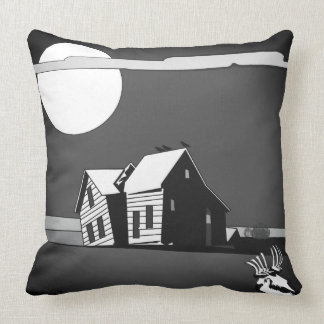 American Dustbowl Ghost House at Night by Aleta Throw Pillow
