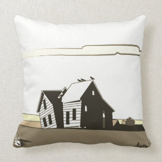 American Dustbowl Ghost House by Aleta Throw Pillow