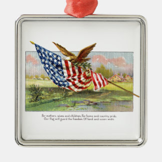 American Eagle and Flag Metal Ornament
