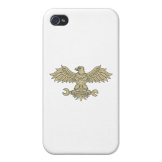 American Eagle Clutching Spanner Drawing Cover For iPhone 4