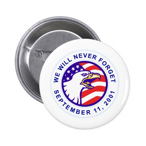 American eagle remember 9-11 USA flag Pinback Buttons