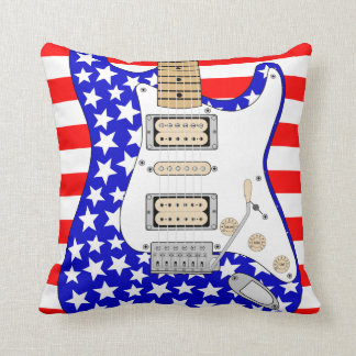 American  Electric Guitar Throw Pillow