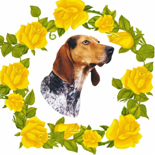 American English Coonhound and Yellow Roses Photo Cut Outs