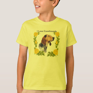 American English Coonhound and Yellow Roses T-Shirt