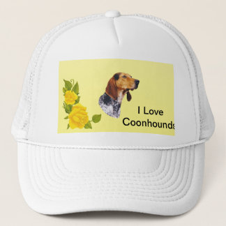 American English Coonhound and Yellow Roses Trucker Hat