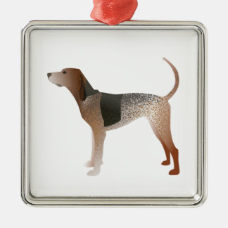 American English Coonhound Dog Silhouette Silver-Colored Square Ornament