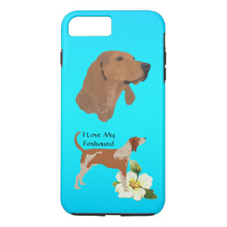 American English Coonhound on Turquoise Floral iPhone 7 Plus Case