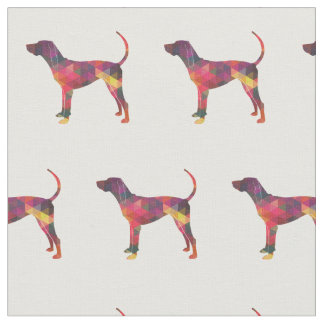 American English Coonhound Silhouette Tiled Fabric
