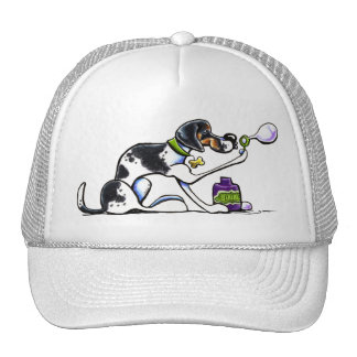 American English Foxhound Blowing Bubbles Trucker Hat