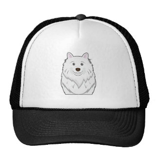 American Eskimo Cartoon Portrait Trucker Hats
