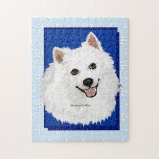 American Eskimo Dog, Blue w/ White Diamonds Puzzle