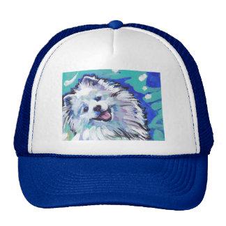 american eskimo dog Bright Colorful Pop Dog Art Trucker Hat