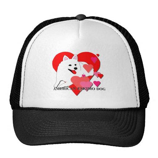 American Eskimo Dog Cartoon Hearts Hat