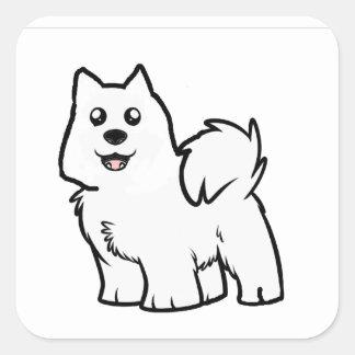 american eskimo dog cartoon square sticker
