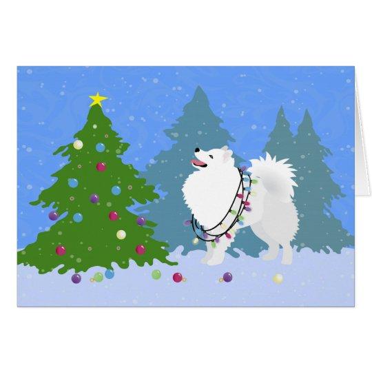 American Eskimo Dog Decorating Christmas Tree Card