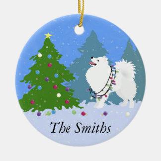 American Eskimo Dog Decorating Christmas Tree Round Ceramic Ornament