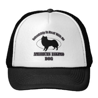 AMERICAN ESKIMO DOG DOG DESIGNS TRUCKER HAT
