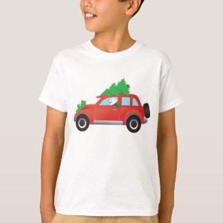 American Eskimo Dog Driving Car w/ Christmas tree T-Shirt