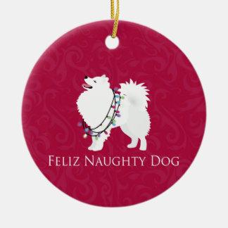 American Eskimo Dog Feliz Naughty Dog Christmas Round Ceramic Ornament