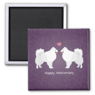 American Eskimo Dog Happy Anniversary Design Magnet