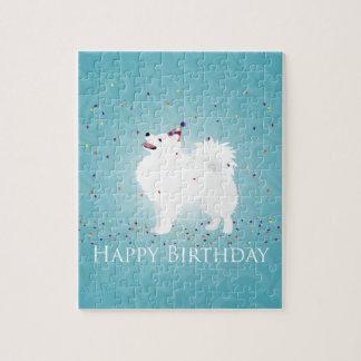 American Eskimo Dog Happy Birthday Design Puzzle