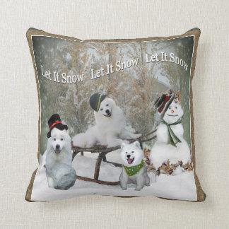 American Eskimo Dog Let It Snow Pillow