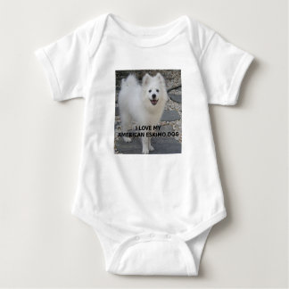 American_Eskimo_Dog_love w pic Baby Bodysuit