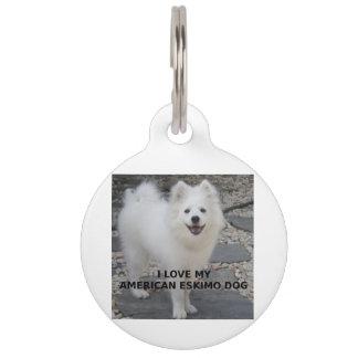 American_Eskimo_Dog_love w pic Pet ID Tag