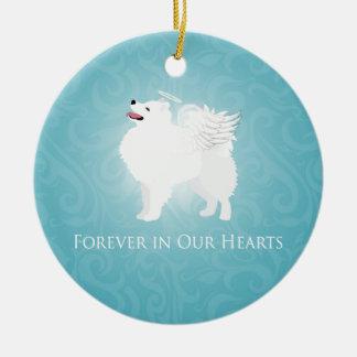 American Eskimo Dog Pet Loss Sympathy Design Ceramic Ornament