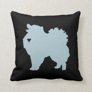 American Eskimo dog pop art silhouette with heart Throw Pillow
