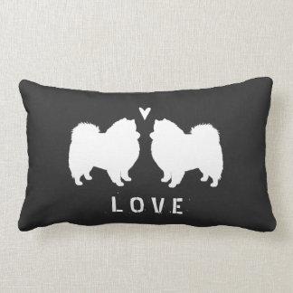 American Eskimo Dog Silhouettes Love Lumbar Pillow