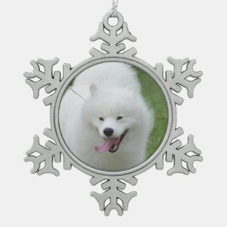 American Eskimo Dog Snowflake Pewter Christmas Ornament