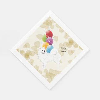 American Eskimo Dog Tan Leaves and Balloons Paper Napkins