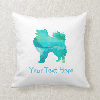American Eskimo Dog Watercolor Customizable Pillow