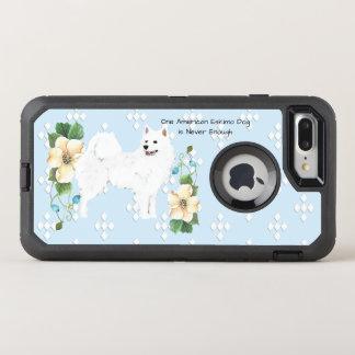 American Eskimo Dog, White Diamonds on Blue Floral OtterBox Defender iPhone 7 Plus Case