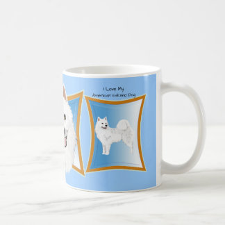 American Eskimo Dog with Blue Frame Coffee Mug