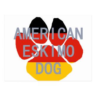american eskimo name flag paw postcard