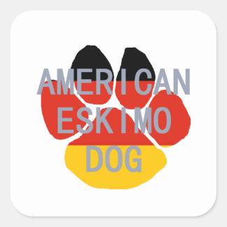 american eskimo name flag paw square sticker