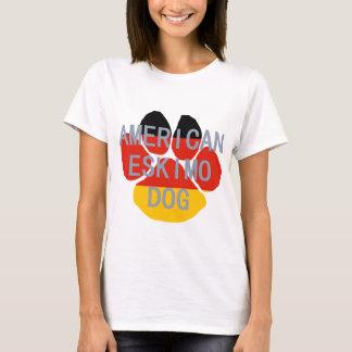 american eskimo name flag paw T-Shirt