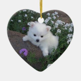 American Eskimo Puppy Dog Ceramic Ornament