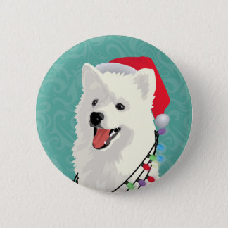 American Eskimo Samoyed Cute Puppy Dog Christmas 2 Inch Round Button