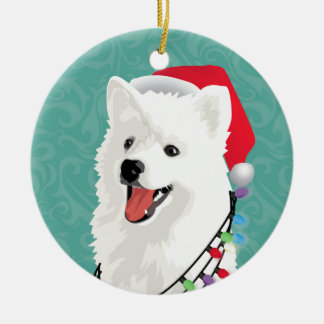 American Eskimo Samoyed Cute Puppy Dog Christmas Ceramic Ornament