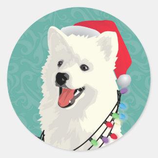 American Eskimo Samoyed Cute Puppy Dog Christmas Classic Round Sticker