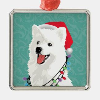 American Eskimo Samoyed Cute Puppy Dog Christmas Metal Ornament