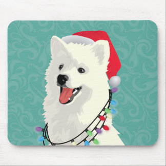 American Eskimo Samoyed Cute Puppy Dog Christmas Mouse Pad