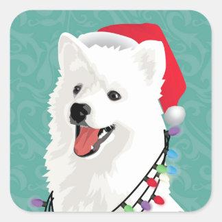 American Eskimo Samoyed Cute Puppy Dog Christmas Square Sticker
